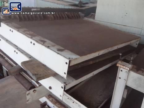 Conjunto de esteiras transportadora para forno de biscoitos com mesa direcional
